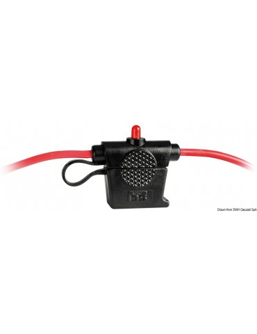 Fuse holder with warning LED, watertight model