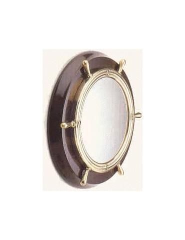 Specchio a forma di timone con base di legno